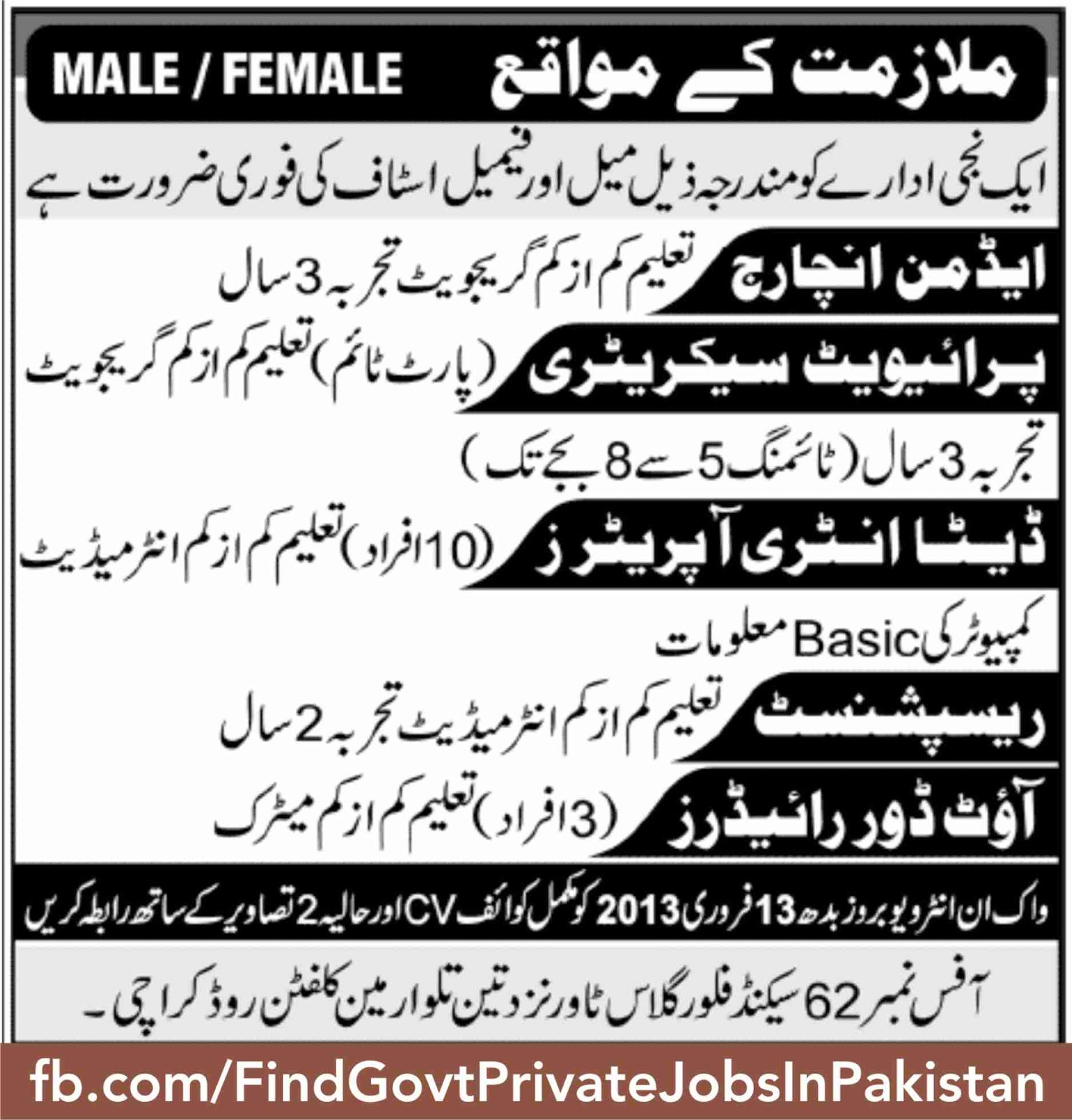 male female staff requried job ads