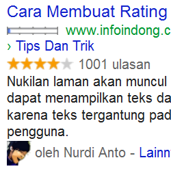 Cara membuat rating bintang rich snipets
