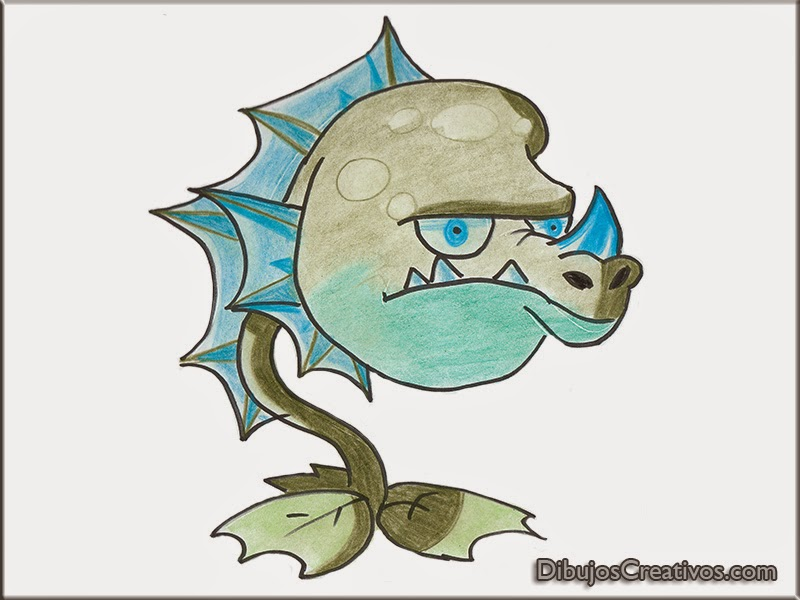 dibujos coloreados WATER DRAGON PLANTAS VS ZOMBIES 2
