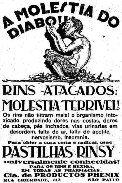 Propagandas das Pastilhas Rinsy (Moléstia do Diabo) - 1929