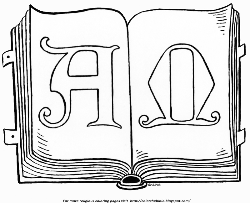 The alpha and omega in holy scripture color the bible for Open bible coloring page