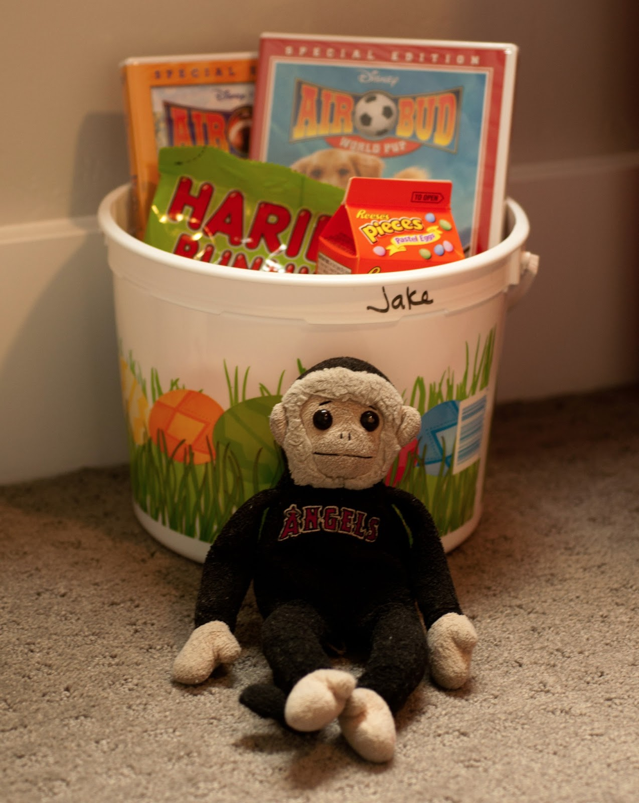 tuna, tuna the monkey, angels, angels mascot, rally monkey, reeses pieces pastel eggs, gummy bears, haribo, air bud, airbud, airbud movies, monkey, easter basket, kids easter basket, eggs, egg