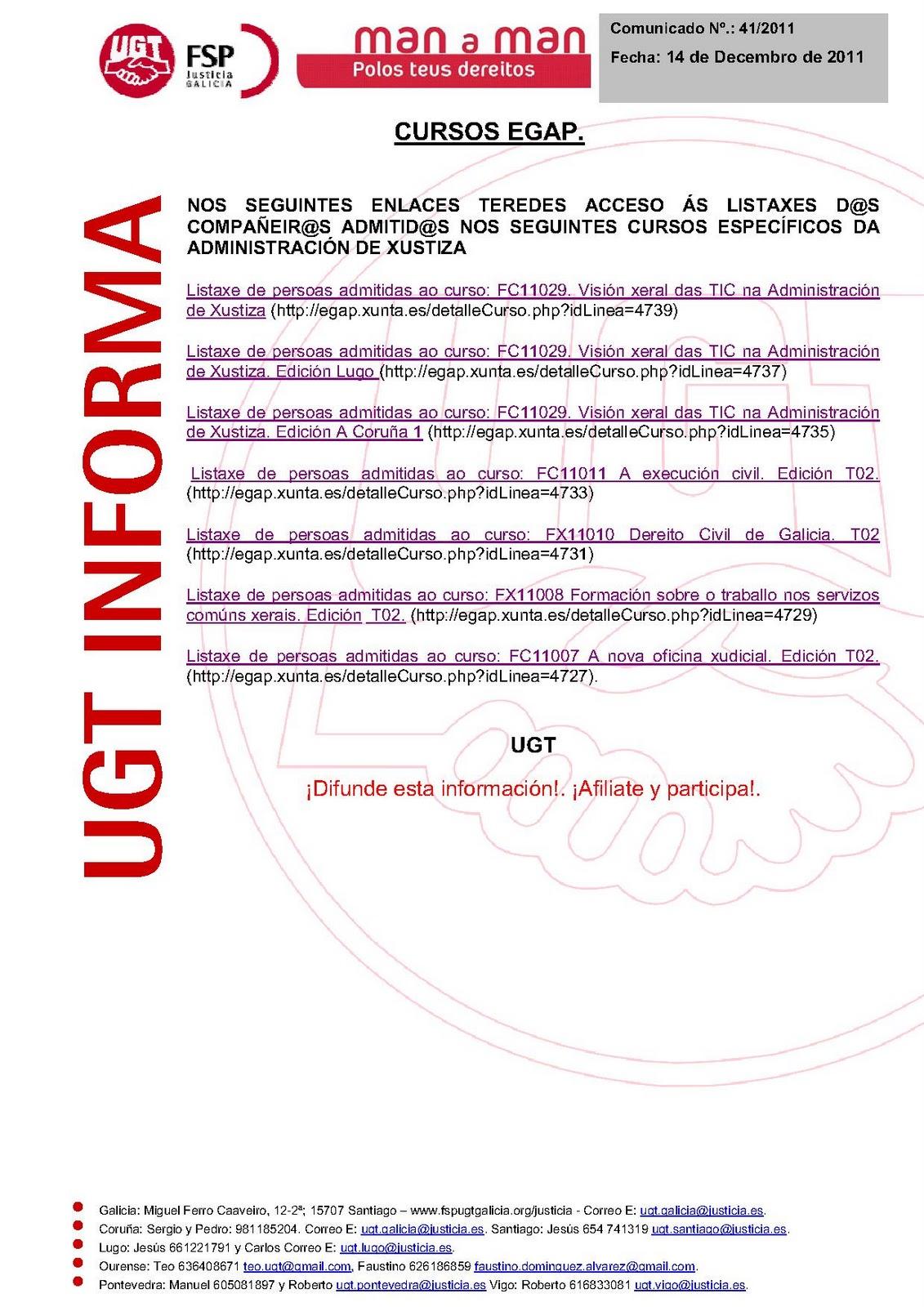 Ugt justicia galicia listas de admitidos cursos egap for Oficina virtual xunta galicia