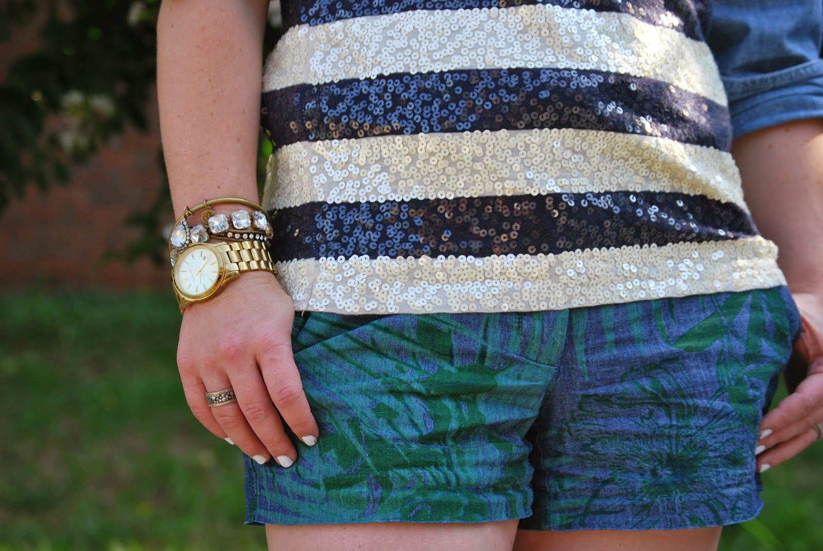 Gap, palm leaf, nautical stripes, sequins, suede wedges
