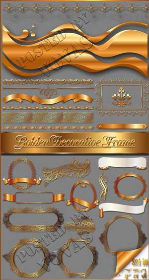 Molduras douradas e decoração Clipart PNG