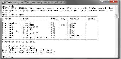 127 MySQL dengan menggunakan Command Prompt (CMD)