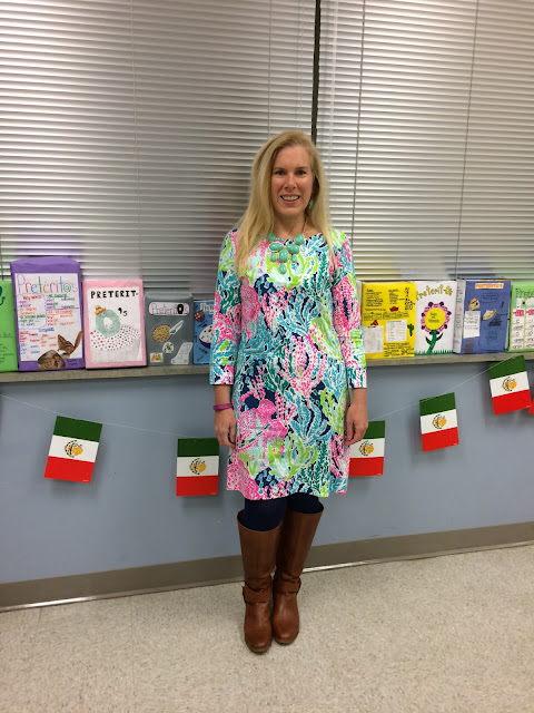 preppy teacher blogger dressember lilly pulitzer marlowe dress lets cha cha maryland pink and green