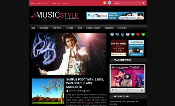 Free Wordpress Music Pink Web2.0 Theme