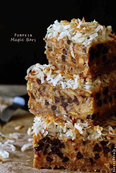 http://www.bakersroyale.com/cookies/pumpkin-7-layer-magic-bars/