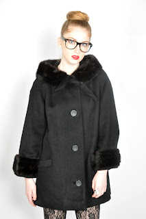 Vintage 1960's black wool mod style coat with mink fur collar and cuffs.
