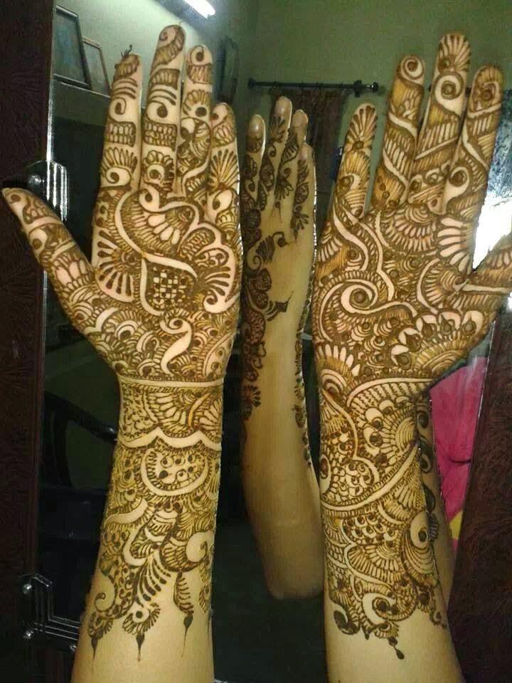 Dulhan Mehndi Designs Photo : Beautiful latest simple arabic pakistani indian bridal