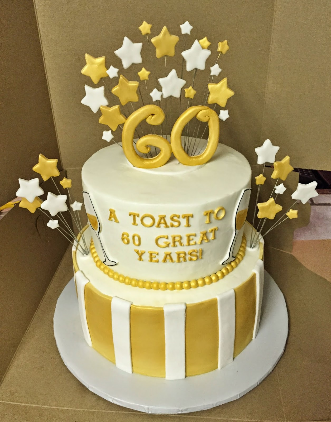 Cakes by Mindy: Gold and White 60th Birthday Cake 8