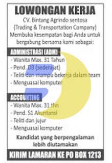 Lowongan Kerja CV. Bintang Agrindo Sentosa Terbaru Di Provinsi Lampung