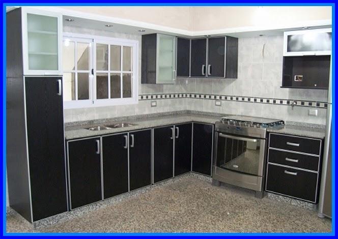 Muebles Baño Ambiente Azul:Diseño moderno y elegante de mueble de cocina en melamina color negro