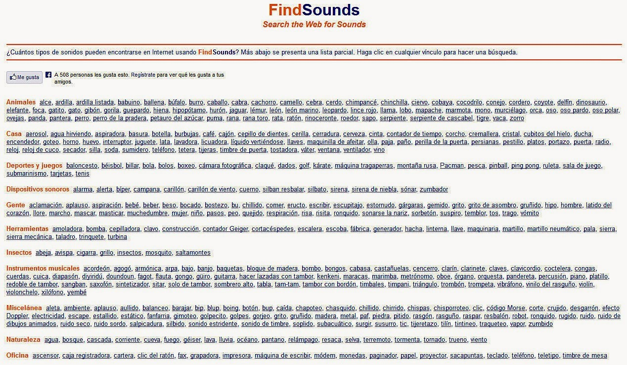 http://www.findsounds.com/typesSpanish.html