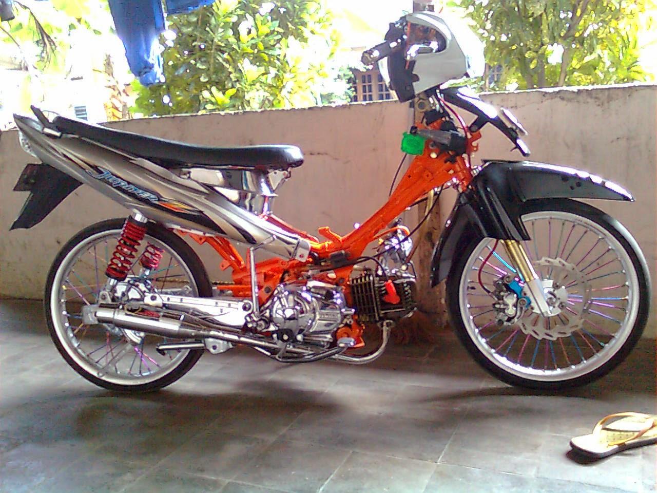 foto, gambar modifikasi motor vega r 2005 warna orange - sukaon