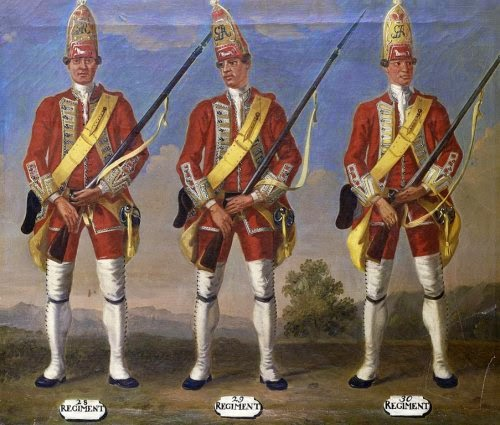 28th, 29th and 30th Regiments of Foot, Grenadiers, 1751