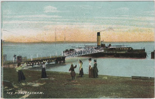 Vintage postcard of Eastham Pier, Lancashire