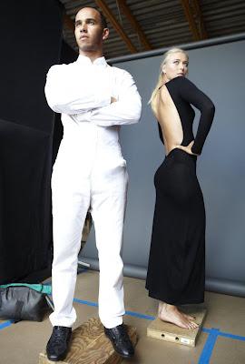 Maria Sharapova sexy black dress photoshoot along with Lewis Hamilton - pic 1