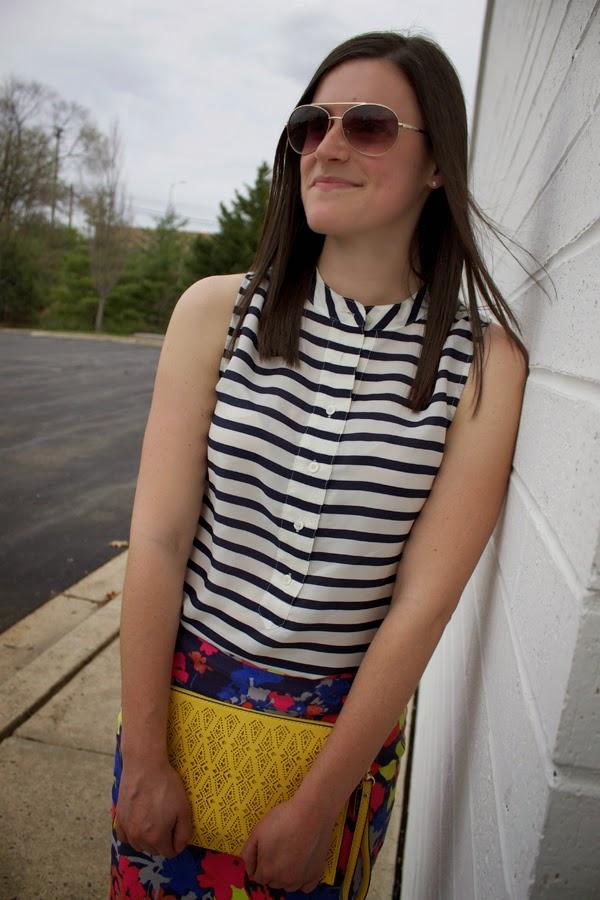 stripes, floral, J.Crew, LOFT skirt, floral skirt, striped top, blue heels, yellow clutch, Aldo clutch