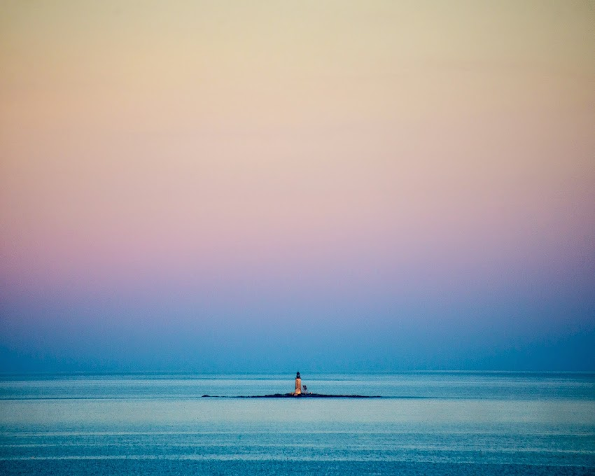 Halfway Rock Lighthouse in Casco Bay near Portland, Maine and Jewell Island August 2014 Summer Sunset photo by Corey Templeton