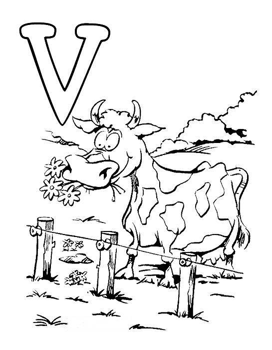 Desenhos Preto e Branco letras do alfabeto letra V Colorir