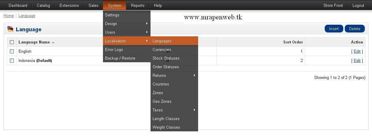 cara merubah atau mengganti bahasa inggris ke bahasa indonesia toko online opencart