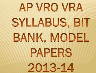 AP VRO VRA Exam Syllabus 2013-14 Model Papers at www.ccla.cgg.gov.in