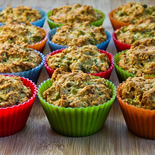 Savory Whole Wheat Zucchini Muffins with Green Chiles and Cheese .