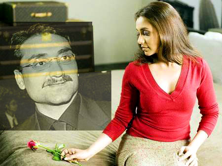 Rani Mukherjee is giving a rose flower sitting on the bad to her boyfriend