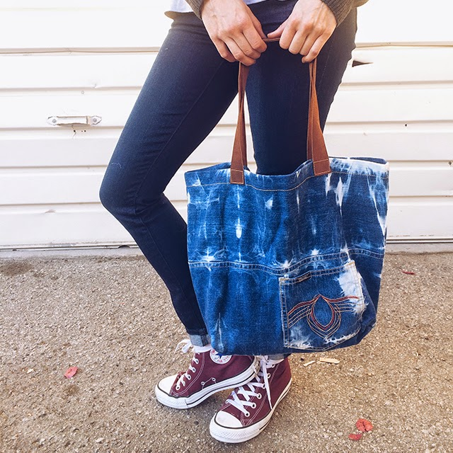 Denim, Sunbleached, tote bag, upcycle, recycle, reborn, etsy