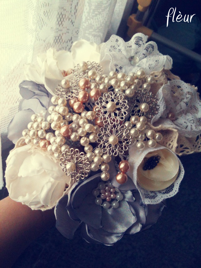 Lace, Pearl and Satin Flower