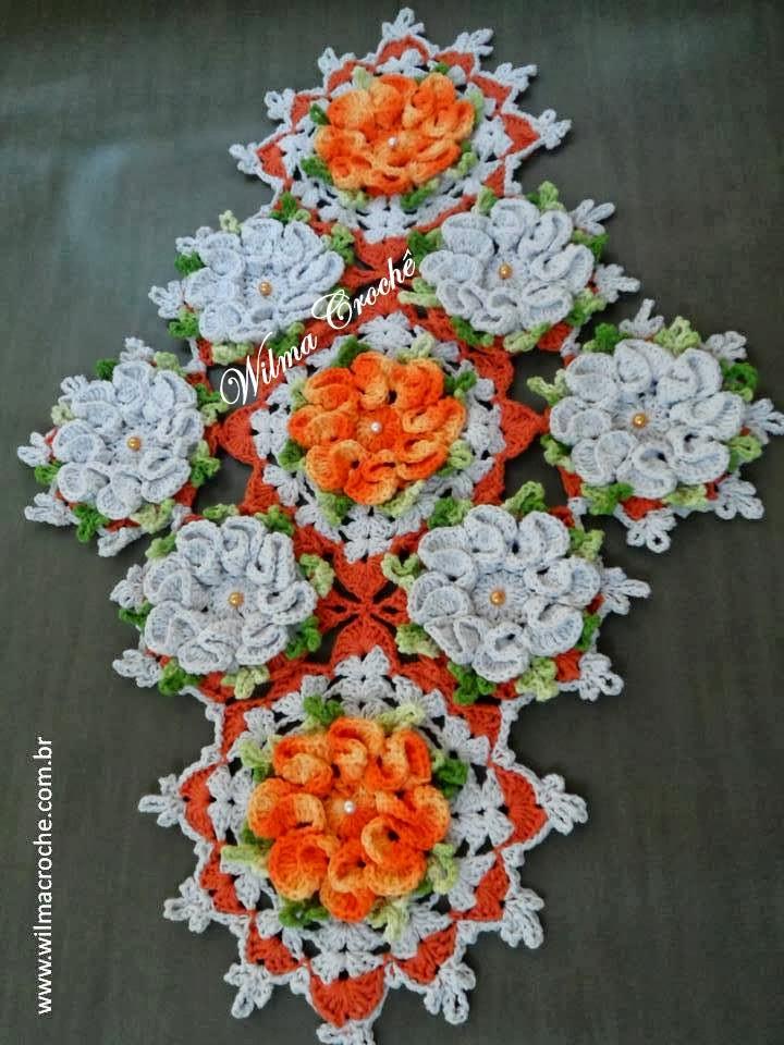 Wilma croch centro de mesa cam lias laranjas for Centro de mesa a crochet