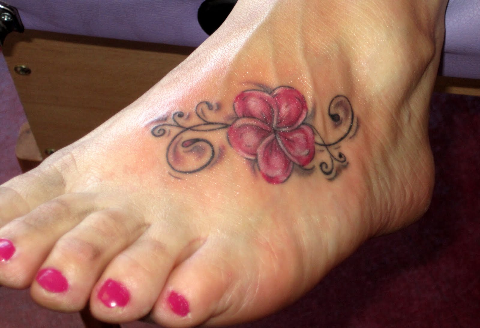 Plumeria Flower Tattoos On Foot
