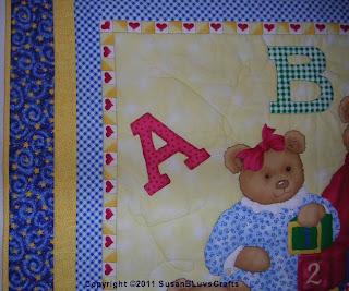 bear panel quilt detail