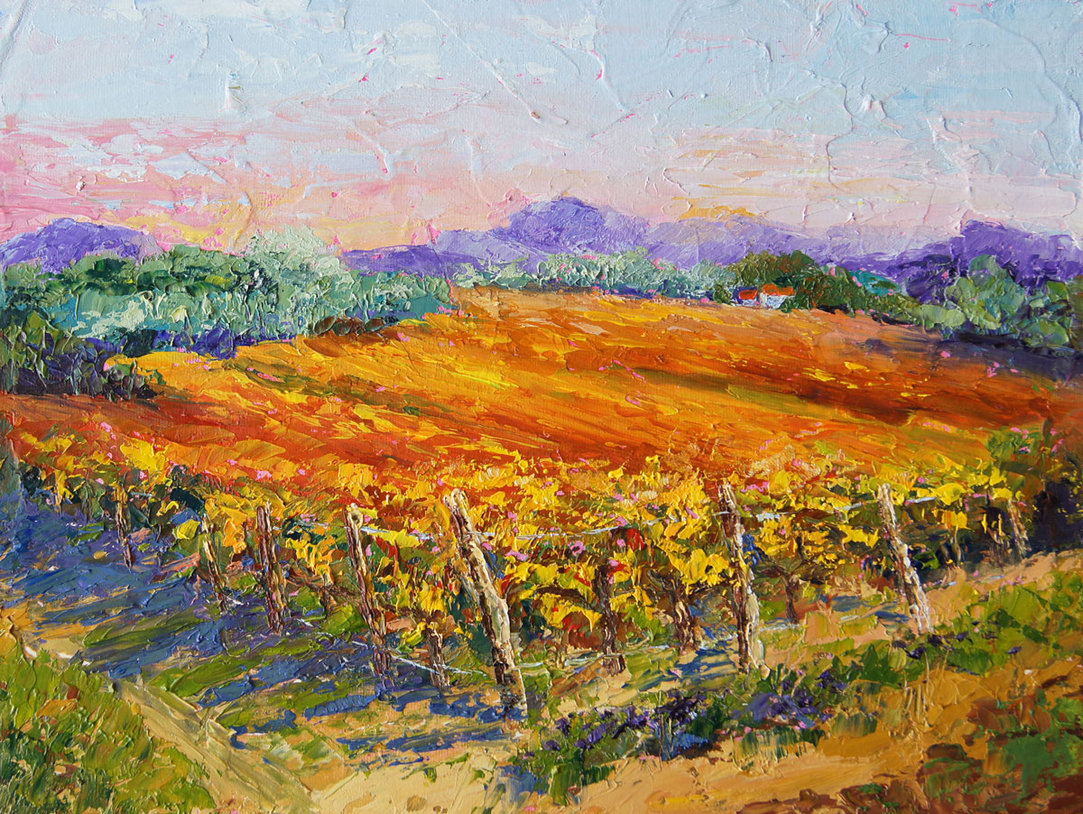 Palette Knife Painters Autumn Vineyard Vista Oil Painting By