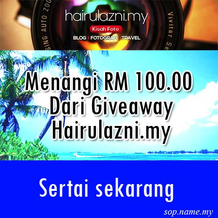 Menang RM 100.00 Dari Giveaway Hairulazni.my
