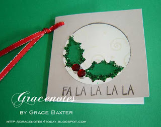 Christmas tag, Holly in the Window, by Grace Baxter