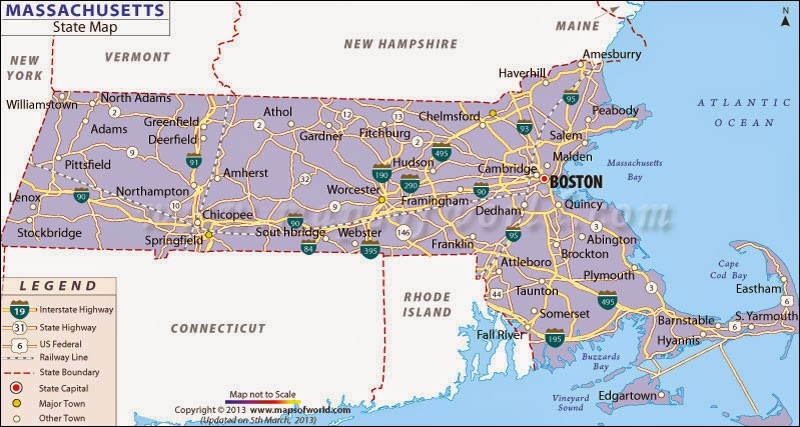 Free printable Massachusetts state map.