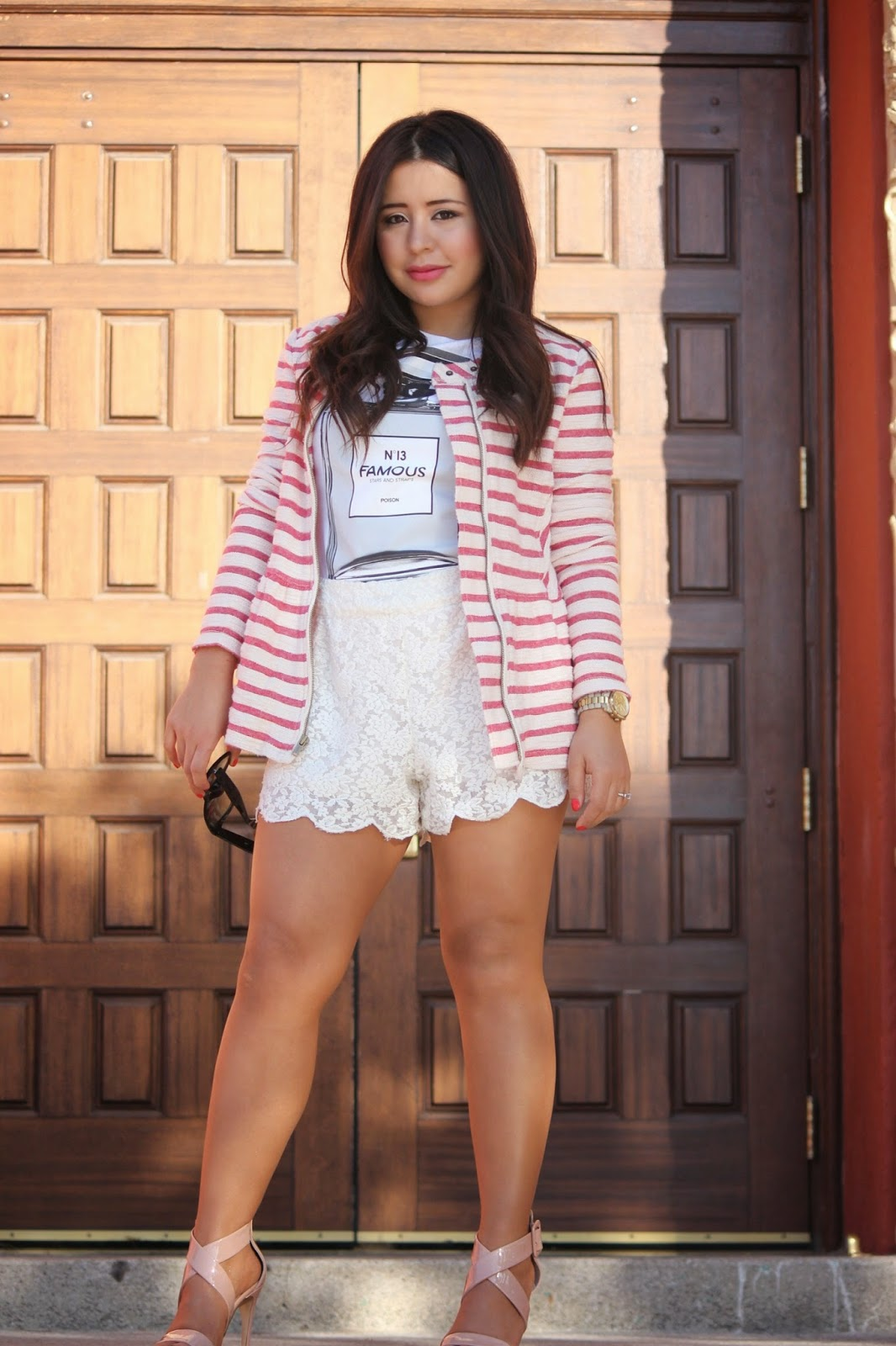 free people lace shorts, free people peplum jacket, stars and straps perfume graphic tee, how to wear high waisted shorts, spring 2014 nautical trend, zappos spring clothing
