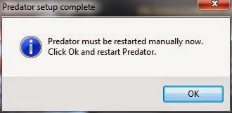 Predator setup complete appears