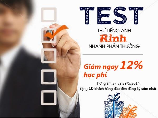 Test thử tiếng Anh- rinh nhanh phần thưởng