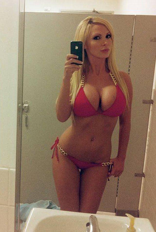 Blonde Red Bikini 73