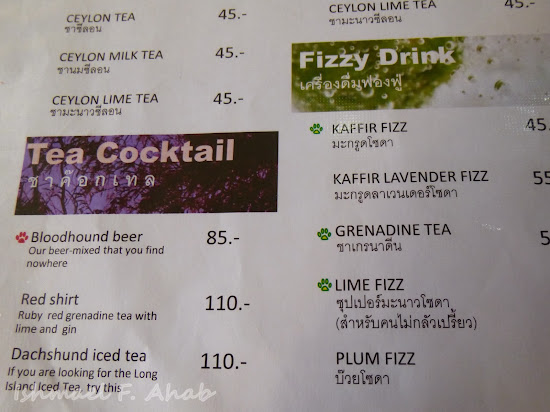 Choice of drinks at Double Dogs Tea Room, Bangkok Chinatown