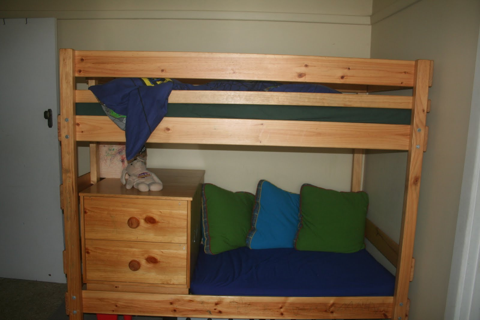 ... and Buddha on the bottom bunk, which used to be a full length single).