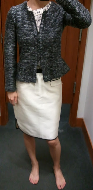 J.Crew Boucle Peplum Jacket in Black; Tuxedo Pencil Skirt