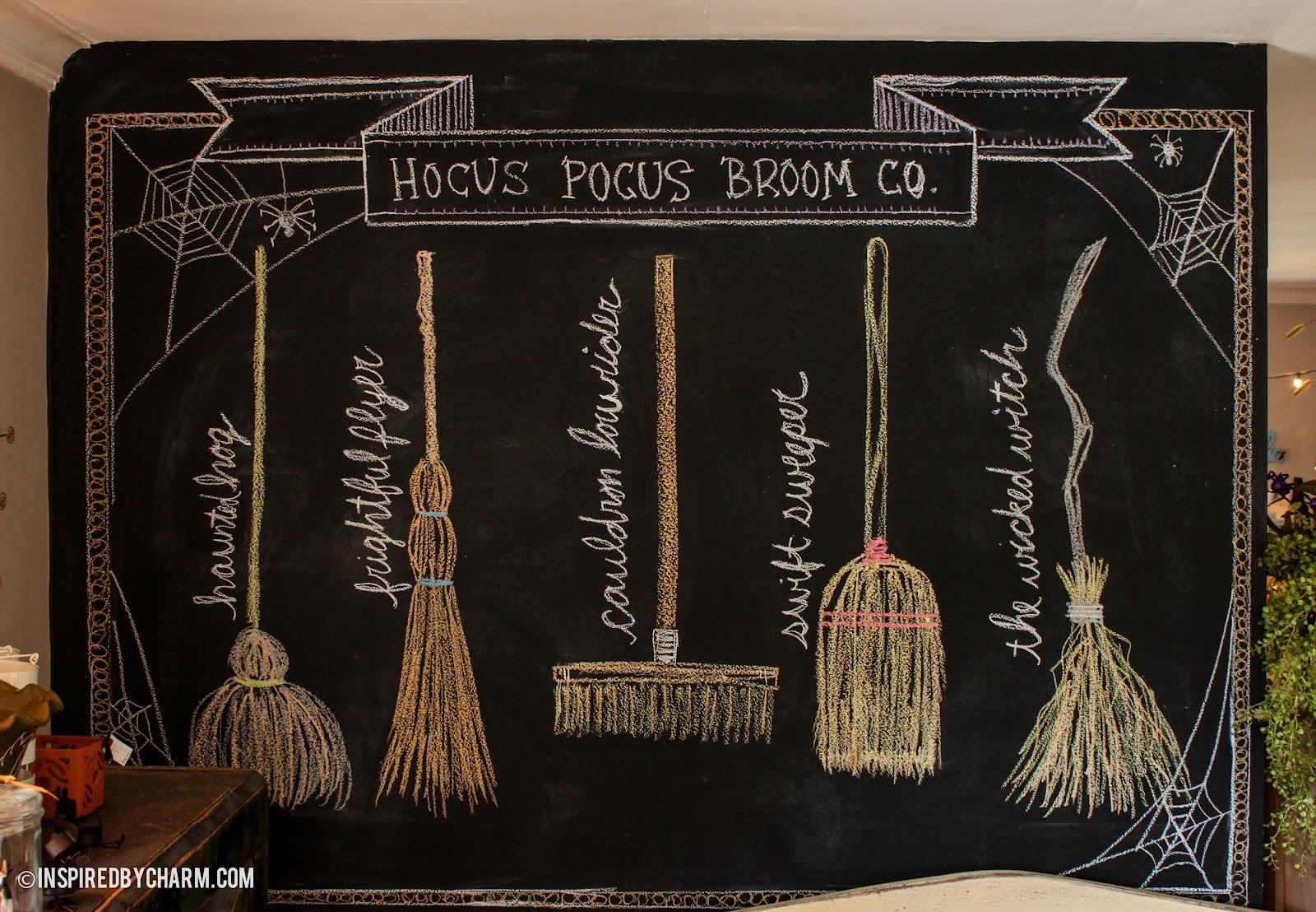 Hocus Pocus Broom Co - Cool chalkboard halloween decor
