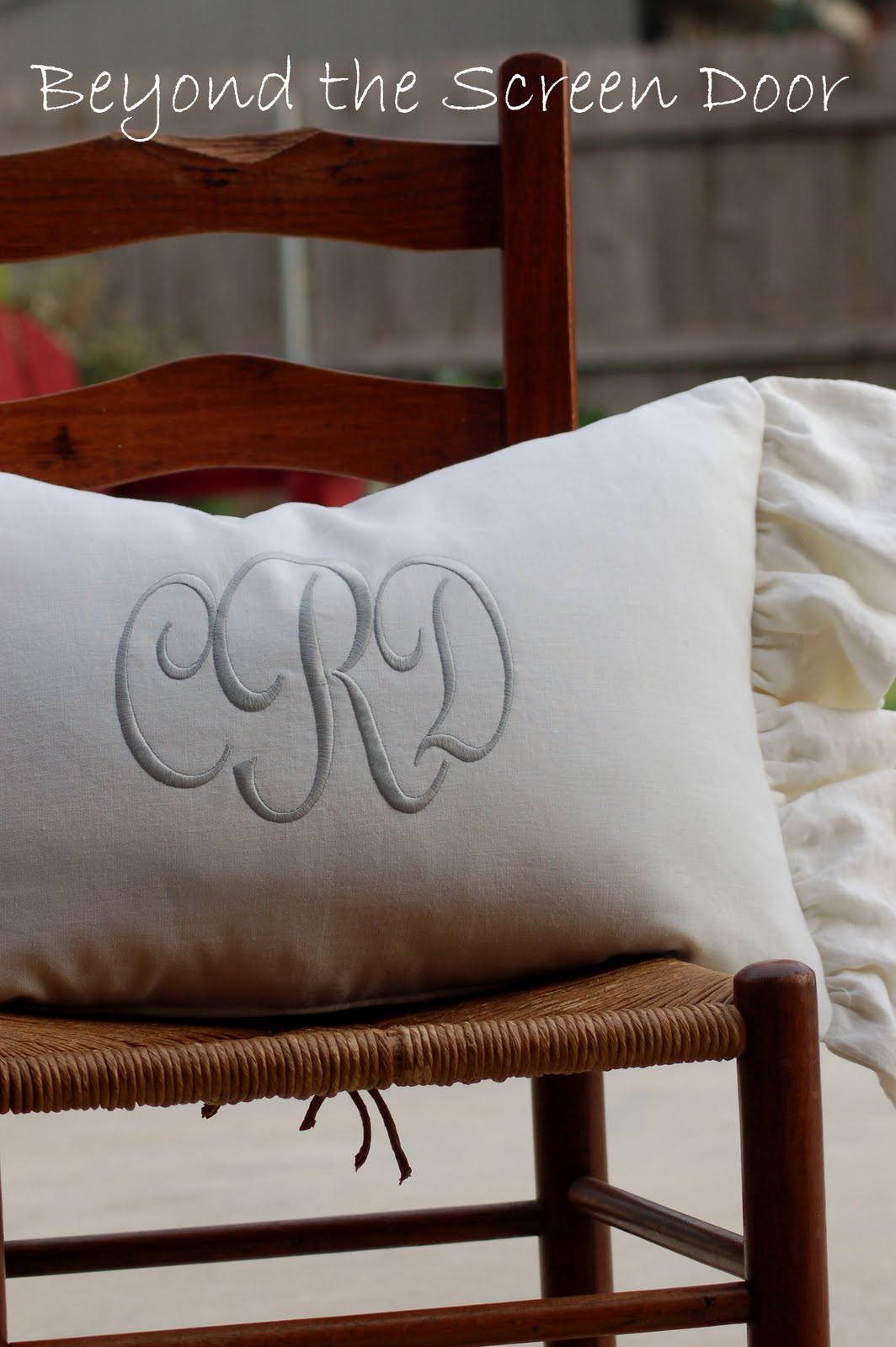 Monogrammed Pillow | Beyond the Screen Door