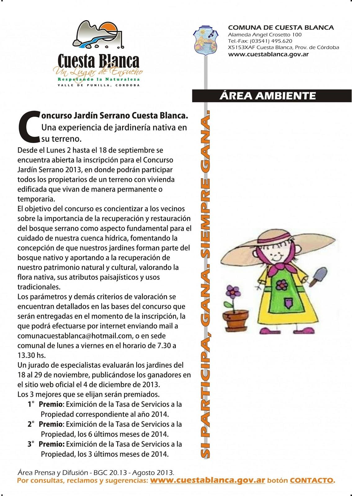 El blog de los vecinos de cuesta blanca concurso jard n for Inscripcion jardin 2015