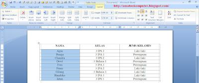 Cara mengurutkan data di word 2007 4